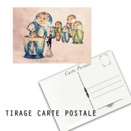 Carte postale humoristique matriochka, les tout petits métiers