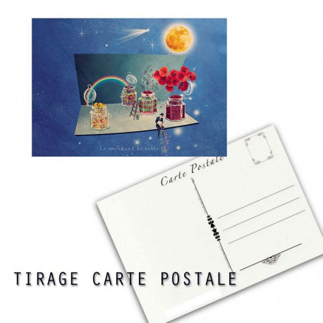 Carte postale humoristique marchand de sable, les tout petits métiers