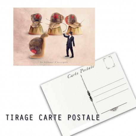 Carte postale humoristique escargot, les tout petits métiers