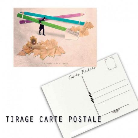Carte postale humoristique graphiste, les tout petits métiers