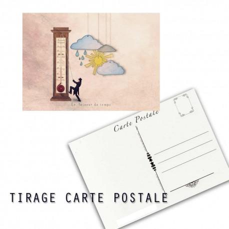 Carte postale humoristique météo, les tout petits métiers