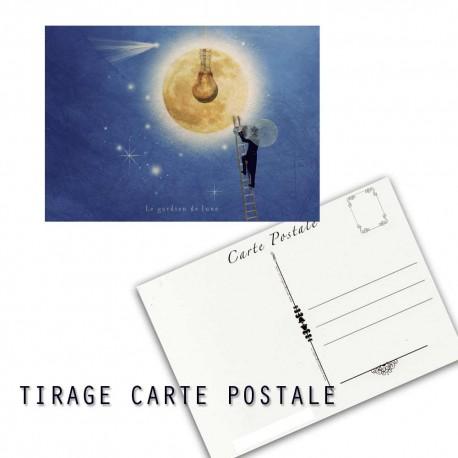 Carte postale humoristique lune, les tout petits métiers