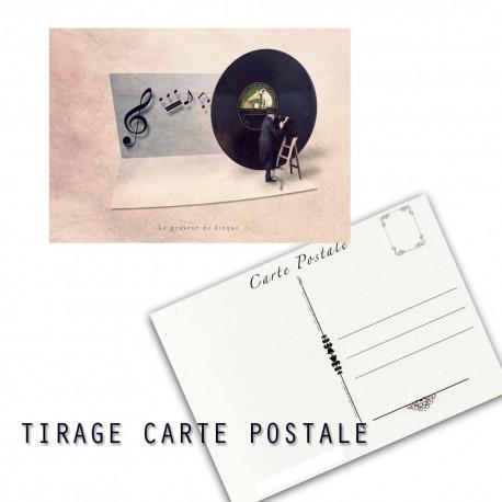 Carte postale humoristique musicien, les tout petits métiers