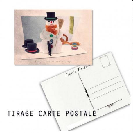 Carte postale humoristique bonhomme de neige, les tout petits métiers
