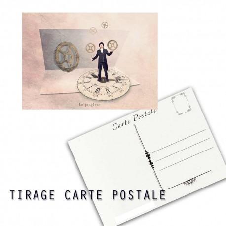 Carte postale humoristique jongleur, les tout petits métiers