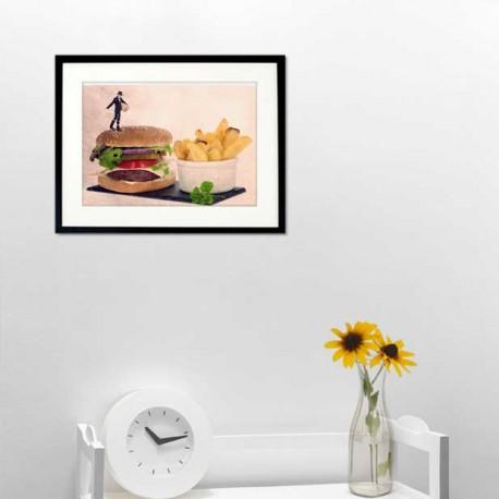 Carte postale humour hamburger, les tout petits métiers