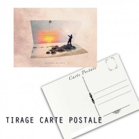 Carte postale humoristique coucher de soleil, les tout petits métiers