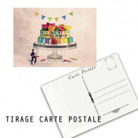 Carte postale humoristique anniversaire, les tout petits métiers