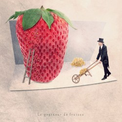 the strawberry seed-sticker - Fine Art photography - Original Art photography - Tiny Trades series