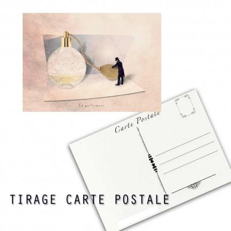 Carte postale humoristique salle de bain, les tout petits métiers