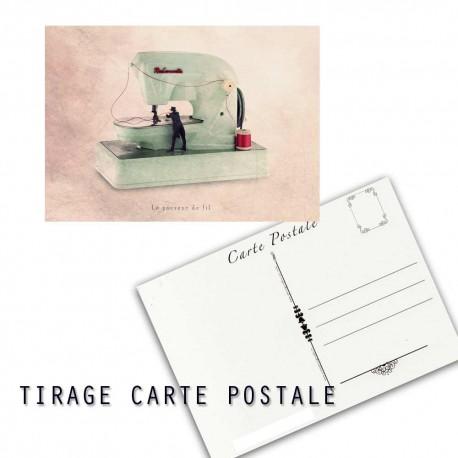 Carte postale humoristique couturière, les tout petits métiers