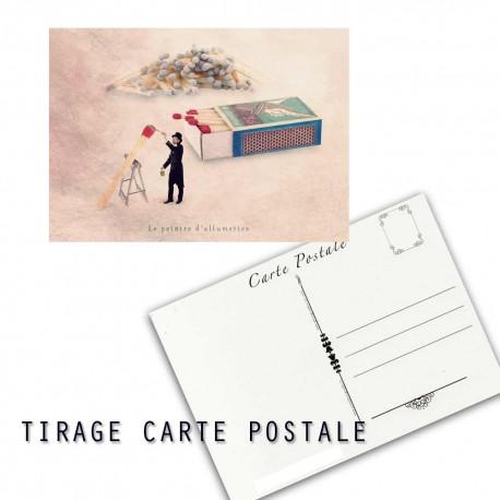 Carte postale humoristique allumette, les tout petits métiers