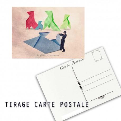 Carte postale humoristique cocotte en papier, les tout petits métiers