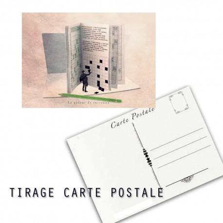 Carte postale humoristique mots croisés, les tout petits métiers