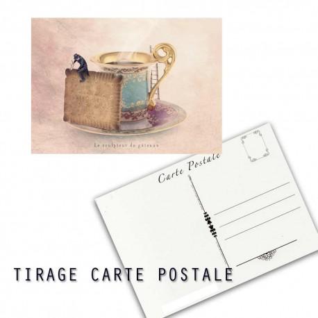Carte postale humoristique tea time, les tout petits métiers