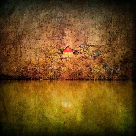 photo d'automne, La maison de bois, photographie artistique de paysage