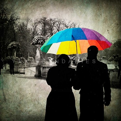 The rainbow umbrella, Fine Art color print urban landscape