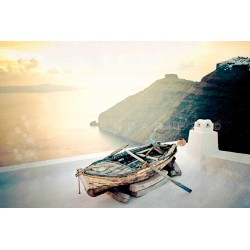 Sunset photography, boat on seaside in Greece