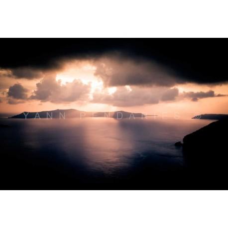 Photo Coucher de soleil Santorin Grèce, Tirage d'art