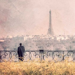 Old man on the Eiffel tower - Fine Art photography - Original Art photography