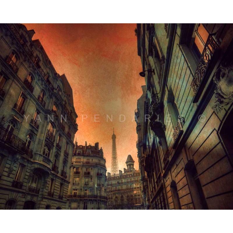 Tirage d 39 art de paris yann pendari s coucher de soleil sur paris - Coucher de soleil sur paris ...