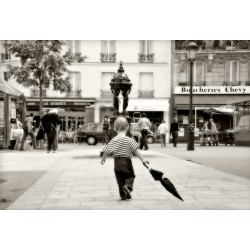 The child with the umbrella, Fine Art black-white photography print