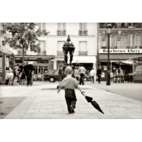 photo de paris doisneau,L'enfant au parapluie, photographie artistique noir et blanc