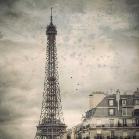 photo de la Tour Eiffel à paris, Dans la brume de Paris, photographie artistique noir et blanc