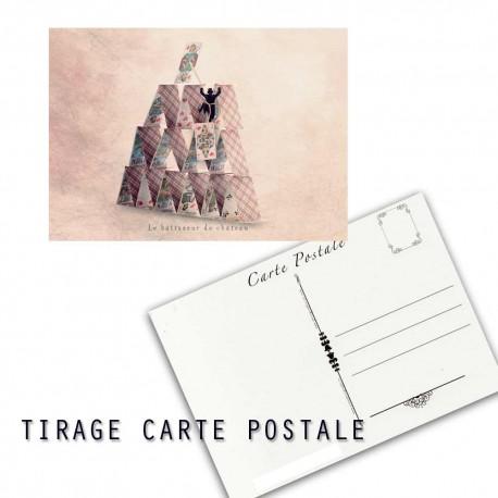 Carte postale humoristique château de cartes, les tout petits métiers
