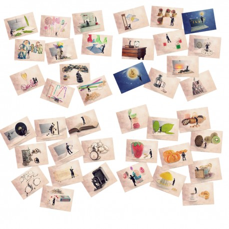 Postcard collection : 45 Tiny trades postcards