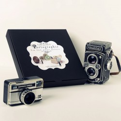 Photography box, 2 prints in 8x8 inche and 6 postcards of your choice