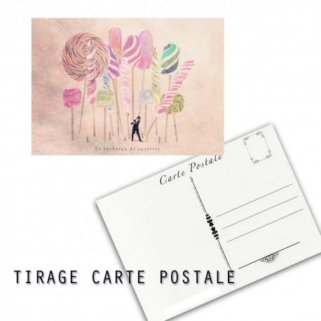 Carte postale humoristique bonbon, les tout petits métiers